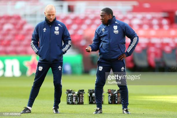 Cardiff City's 1st team coach James Rowberry and assitant manager Terry Connor during the Sky Bet Championship match between Middlesbrough and...