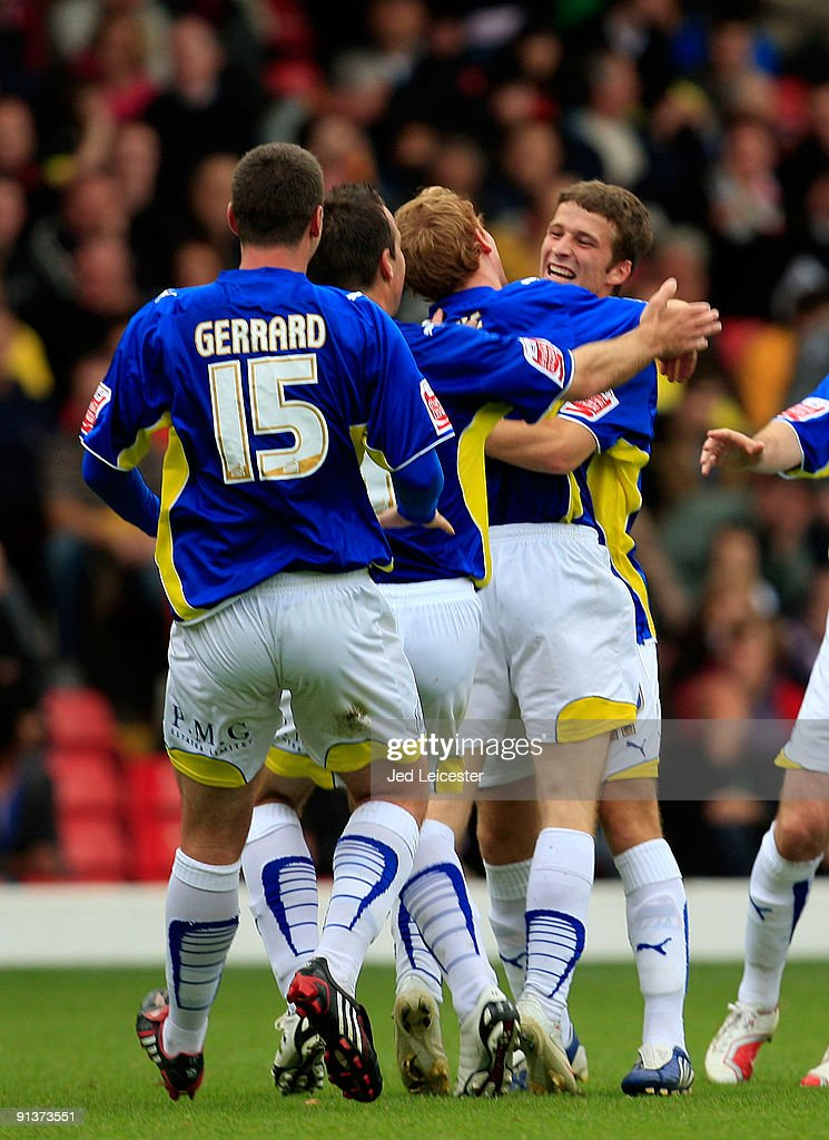 Cardiff City's Adam Matthews (far right) celebrates with his team mates after scoring the second goal from a very long range freekick during the Watford and Cardiff City Coca Cola Championship match at Vicarage Road on October 3, 2009 in Watford, England.