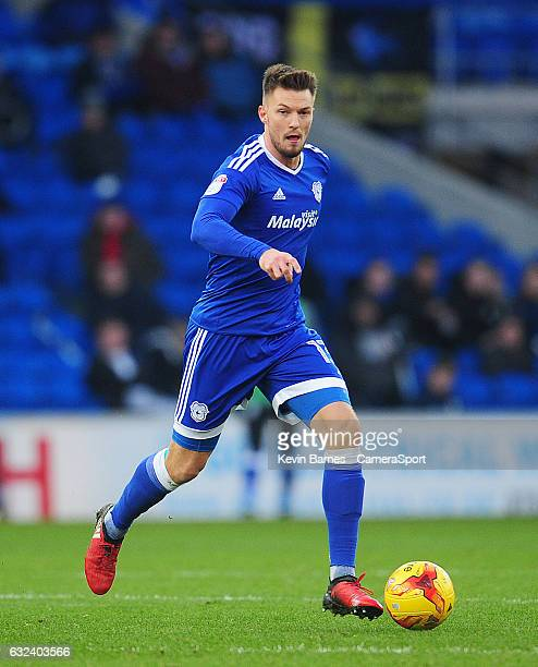 Cardiff City's Anthony Pilkington during the Sky Bet Championship match between Cardiff City and Burton Albion Albion at Cardiff City Stadium on...