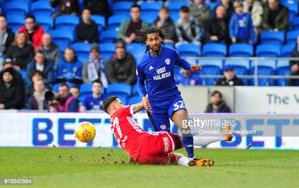 Cardiff City's Armand Traore is fouled by Middlesbrough's Muhamed Besic during the Sky Bet Championship match between Cardiff City and Middlesbrough...