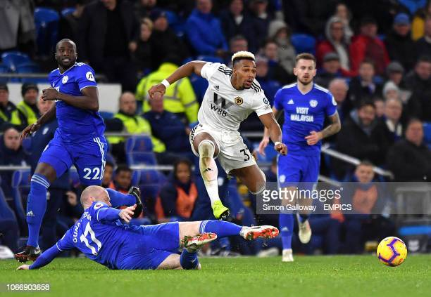 Cardiff City's Aron Gunnarsson slide tackles Wolverhampton Wanderers' Adama Traore Cardiff City v Wolverhampton Wanderers Premier League Cardiff City...