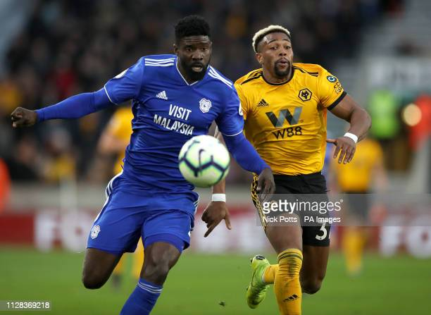 Cardiff City's Bruno Ecuele Manga and Wolverhampton Wanderers' Adama Traore battle for the ball during the Premier League match at Molineux...