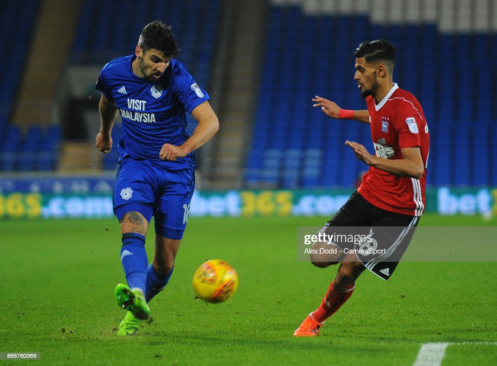 Cardiff City's Callum Paterson under pressure from Ipswich Town's Kevin Bro during the Sky Bet Championship match between Sunderland and Bolton Wanderers at Stadium of Light on October 31, 2017 in Sunderland, England.