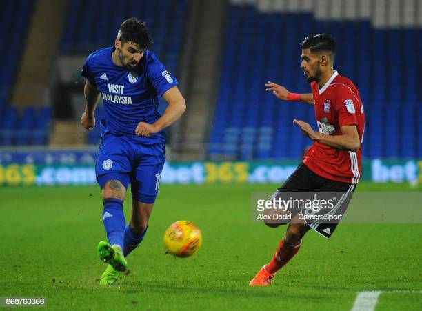 Cardiff City's Callum Paterson under pressure from Ipswich Town's Kevin Bro during the Sky Bet Championship match between Sunderland and Bolton...