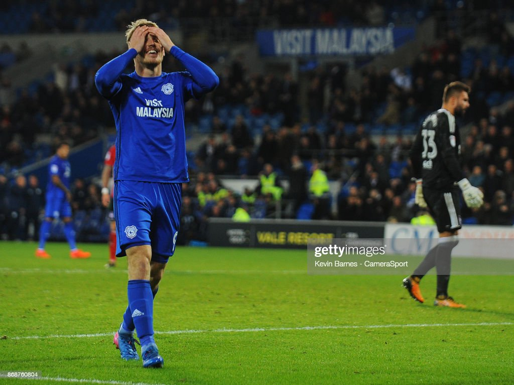 Cardiff City's Danny Ward rues a missed opportunity during the Sky Bet Championship match between Cardiff City and Ipswich Town at Cardiff City Stadium on October 31, 2017 in Cardiff, Wales.