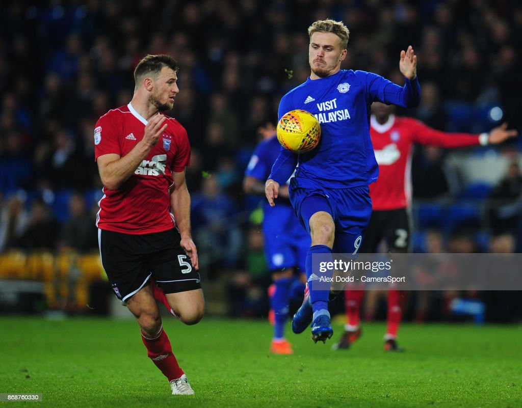 Cardiff City's Danny Ward under pressure from Ipswich Town's Tommy Smith during the Sky Bet Championship match between Sunderland and Bolton Wanderers at Stadium of Light on October 31, 2017 in Sunderland, England.