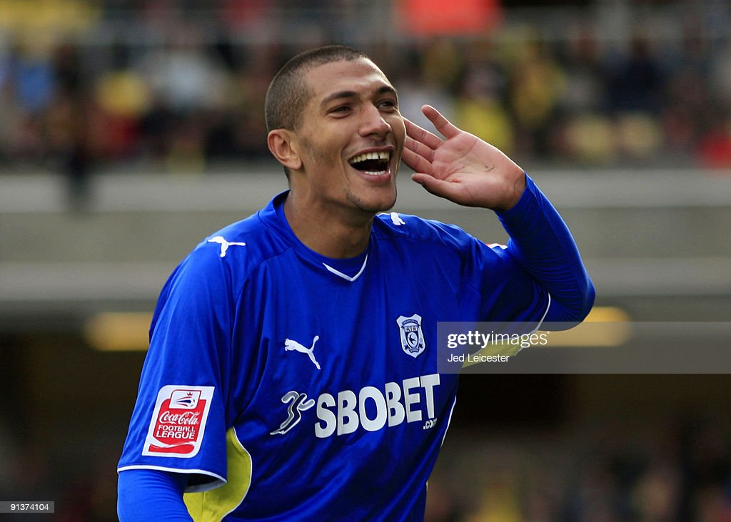 Cardiff City's Jay Bothroyd celebrates scoring the fourth goal during the Watford v Cardiff City Coca Cola Championship match at Vicarage Road on October 3, 2009 in Watford, England.