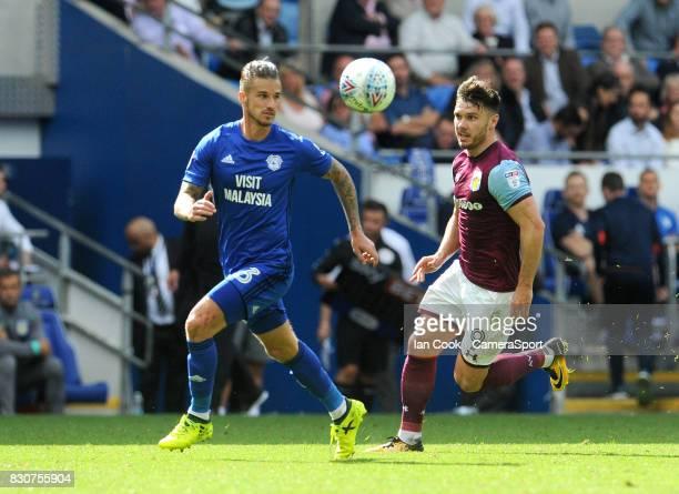Cardiff City's Joe Bennett battles with Aston Villa's Scott Hogan during the Sky Bet Championship match between Cardiff City and Aston Villa at...