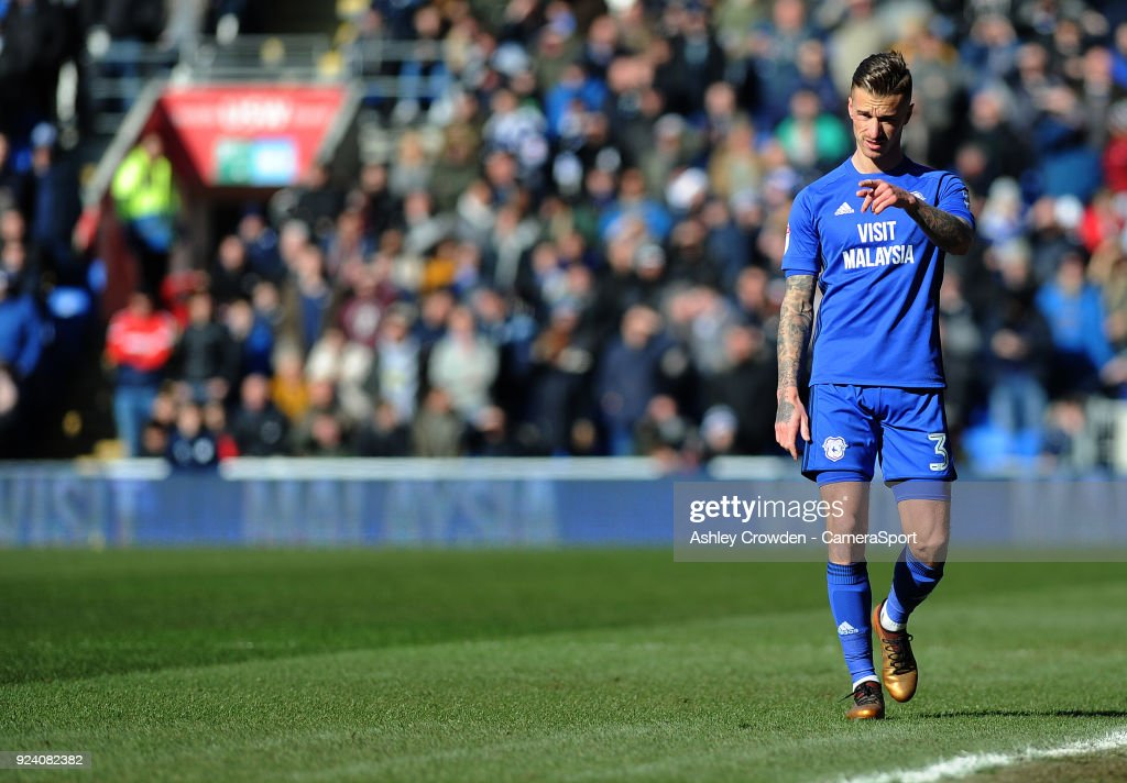 Cardiff City's Joe Bennett during the Sky Bet Championship match between Cardiff City and Bristol City at Cardiff City Stadium on February 25, 2018 in Cardiff, Wales.