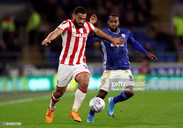 Cardiff City's Junior Hoilett and Stoke City's Cameron Carter-Vickers battle for the ball Cardiff City v Stoke City - Sky Bet Championship - Cardiff...