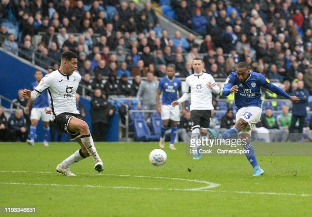 Cardiff City's Junior Hoilett has a shot at goal during the Sky Bet Championship match between Cardiff City and Swansea City at Cardiff City Stadium...