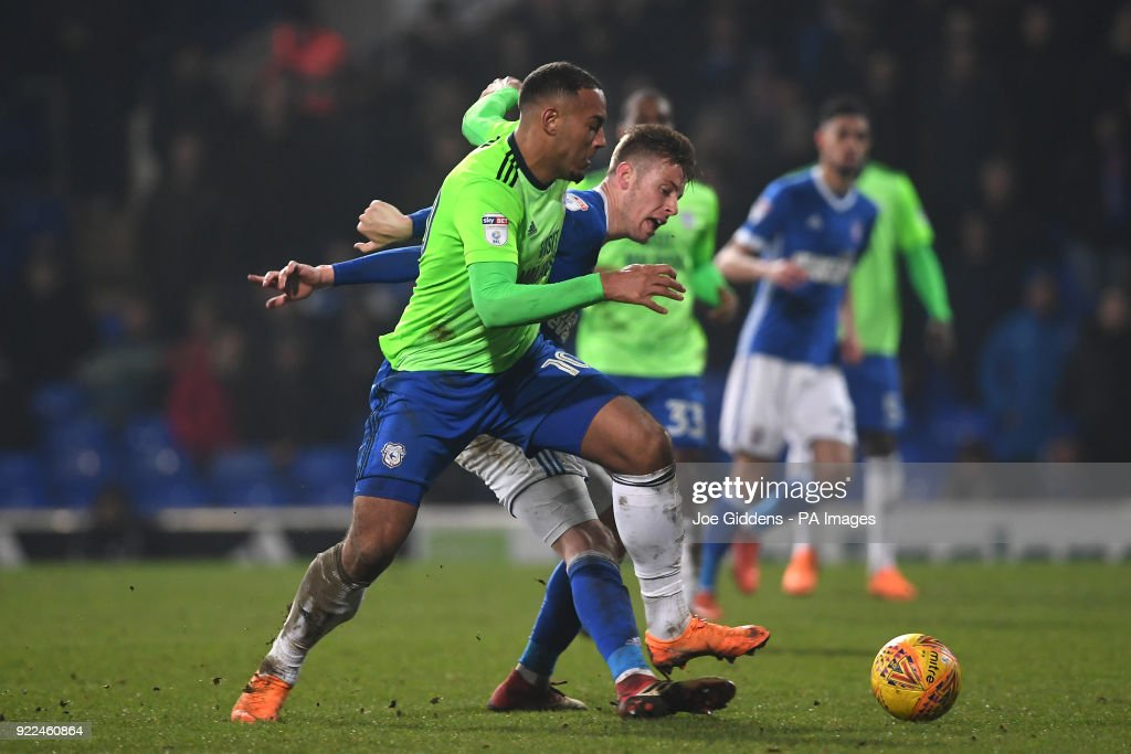 Cardiff City's Kenneth Zohore (left) and Ipswich Town's Adam Webster during the Sky Bet Championship match at Portman Road, Ipswich.