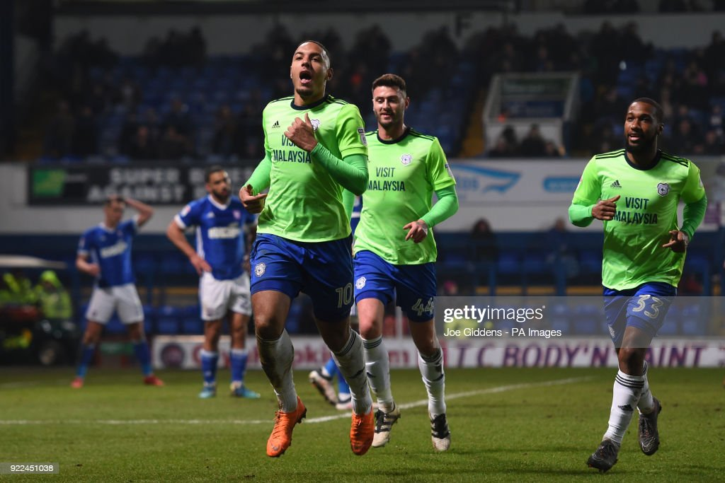 Cardiff City's Kenneth Zohore (left) celebrates scoring his side's first goal of the game during the Sky Bet Championship match at Portman Road, Ipswich.
