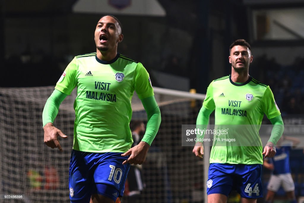 Cardiff City's Kenneth Zohore celebrates scoring his side's first goal of the game during the Sky Bet Championship match at Portman Road, Ipswich.