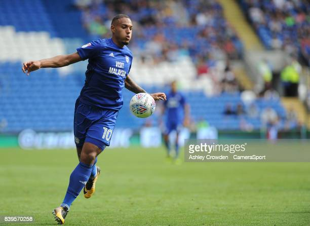 Cardiff City's Kenneth Zohore during the Sky Bet Championship match between Cardiff City and Queens Park Rangers at Cardiff City Stadium on August 26...