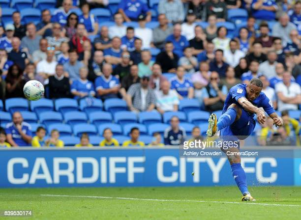 Cardiff City's Kenneth Zohore freekick is saved by Queens Park Rangers' Alex Smithies during the Sky Bet Championship match between Cardiff City and...