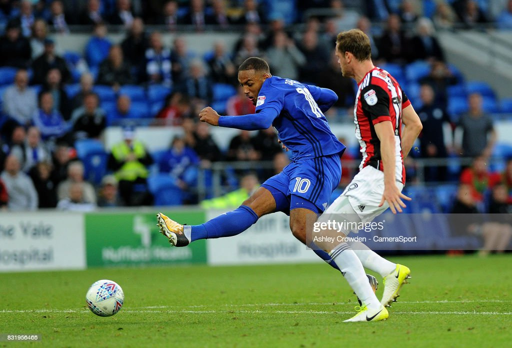 Cardiff City's Kenneth Zohore has a shot at goalduring the Sky Bet Championship match between Cardiff City and Sheffield United at Cardiff City Stadium on August 15, 2017 in Cardiff, Wales.