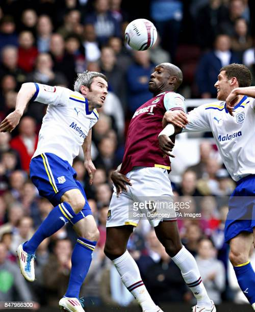 Cardiff City's Kevin McNaughton and West Ham United's Carlton Cole during the npower Championship Playoff Semi Final Second Leg at Upton Park London