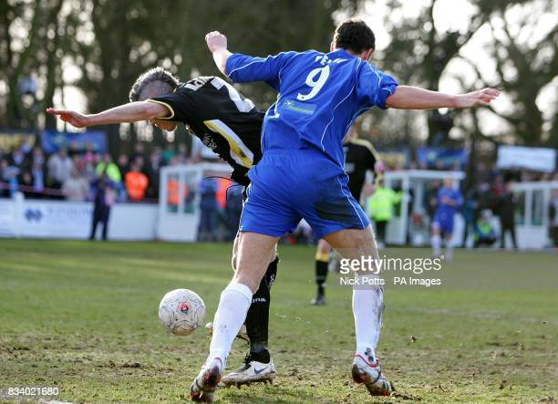 Cardiff City's Kevin McNaughton scores an own goal under pressure from Chasetown's Kyle Perry
