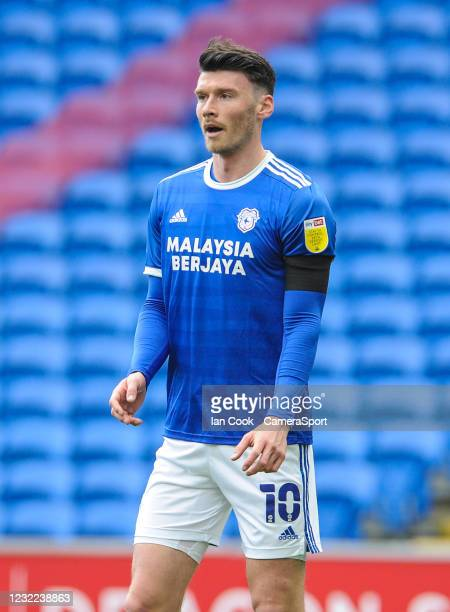 Cardiff City's Kieffer Moore during the Sky Bet Championship match between Cardiff City and Blackburn Rovers at Cardiff City Stadium on April 10,...