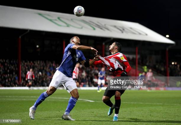 Cardiff City's Lee Peltier and Brentford's Said Benrahma battle for the ball Brentford v Cardiff City Sky Bet Championship Griffin Park