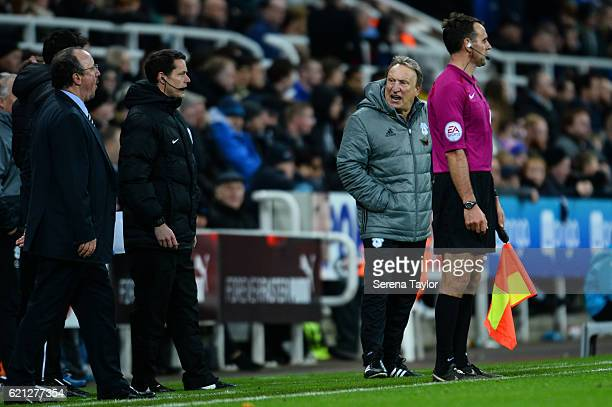 Cardiff City's Manager Neil Warnock stands pitch side during the Sky Bet Championship match between Newcastle United and Cardiff City at StJames'...