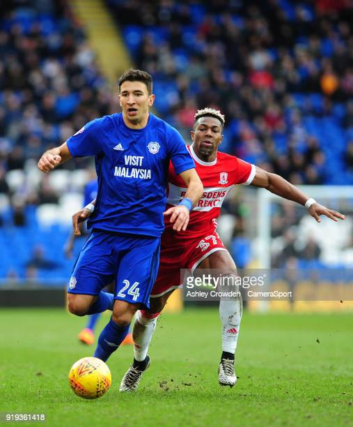 Cardiff City's Marko Grujic battles with Middlesbrough's Adama Traore during the Sky Bet Championship match between Cardiff City and Middlesbrough at...