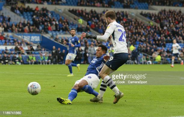 Cardiff City's Nathaniel MendezLaing blocks Preston North End's Tom Barkhuizen shot during the Sky Bet Championship match between Cardiff City and...