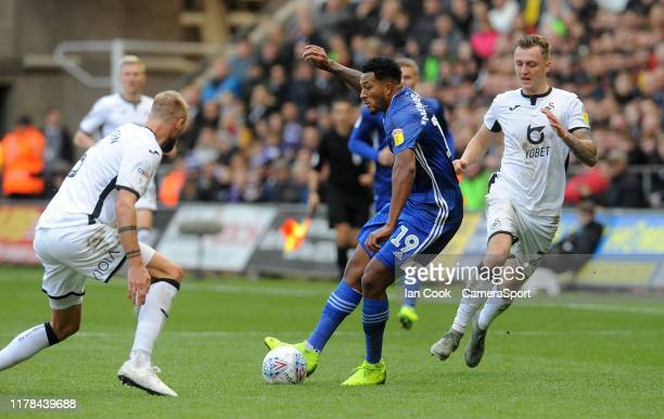 Cardiff City's Nathaniel MendezLaing is closed down during the Sky Bet Championship match between Swansea City and Cardiff City at Liberty Stadium on...