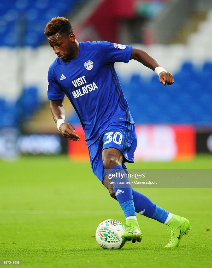 Cardiff City's Omar Bogle during the Carabao Cup Second Round match between Cardiff City and Burton Albion at Cardiff City Stadium on August 22, 2017 in Cardiff, Wales.