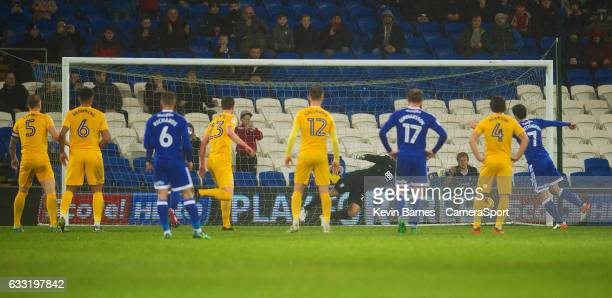 Cardiff City's Peter Whittingham scores his sides first goal during the Sky Bet Championship match between Cardiff City and Preston North End at...