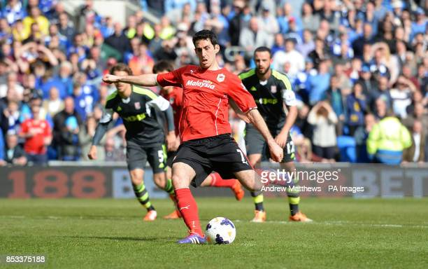 Cardiff City's Peter Whittingham scores his side's first goal of the game during the Barclays Premier League match at the Cardiff City Stadium Cardiff