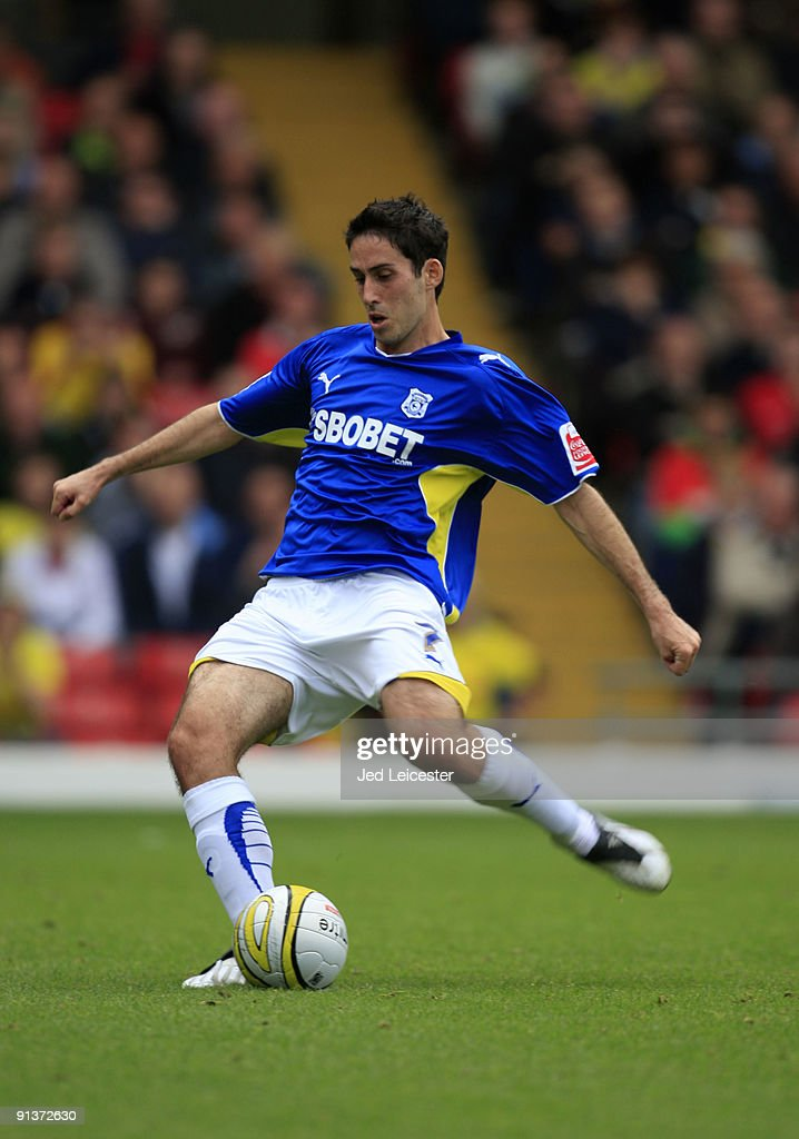 Cardiff City's Peter Whittingham scores the opening goal from the penalty spot during the Watford and Cardiff City Coca Cola Championship match at Vicarage Road on October 3, 2009 in Watford, England.