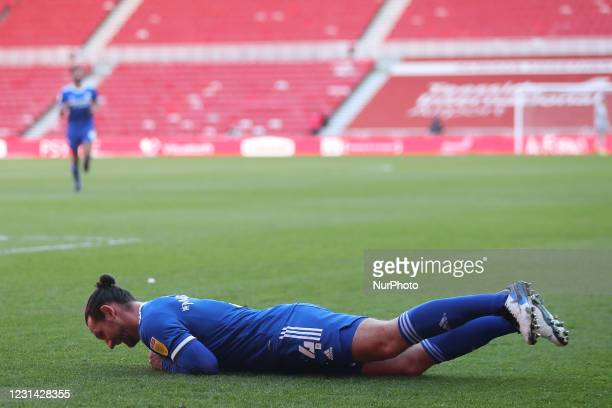Cardiff City's Sean Morrison celebrates after scoring their first goal during the Sky Bet Championship match between Middlesbrough and Cardiff City...