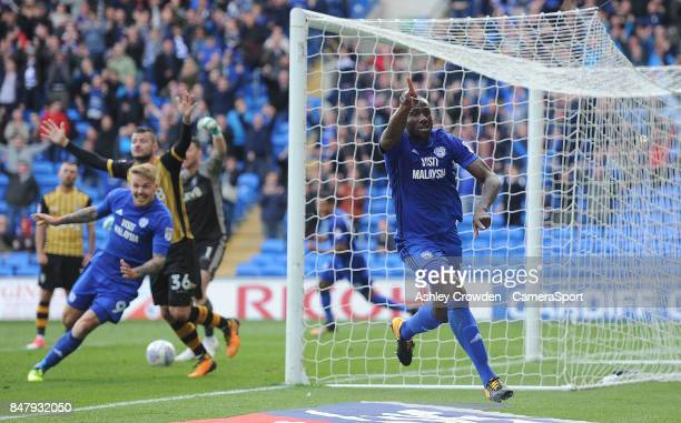 CELE Cardiff City's Souleymane Bamba celebrates his side's equalising goal to make the score 11 during the Sky Bet Championship match between Cardiff...