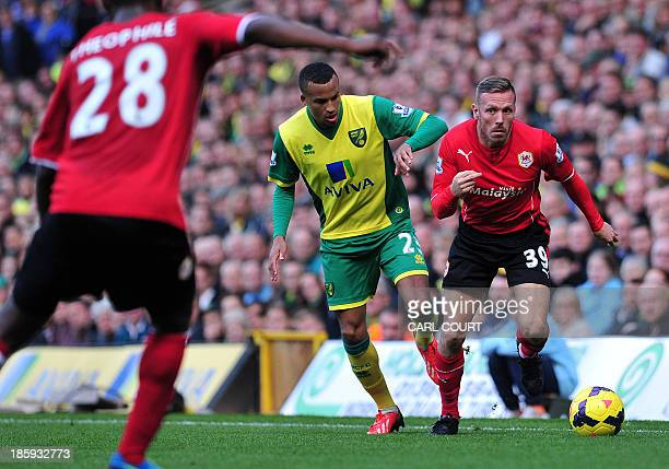 Cardiff City's Welsh striker Craig Bellamy vies with Norwich City's Swedish defender Martin Olsson during the English Premier League football match...