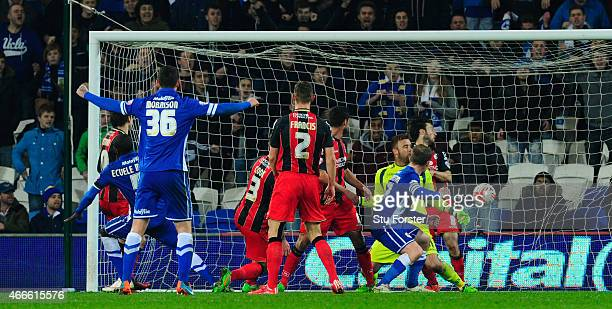 Cardiff defender Bruno Ecuele Manga scores the first Cardiff goal during the Sky Bet Championship match between Cardiff City and AFC Bournemouth at...