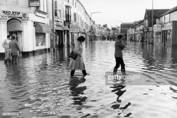 Cardiff Floods 1979 Our picture shows flooded high street Cowbridge Road East Cardiff Thursday 27th December 1979