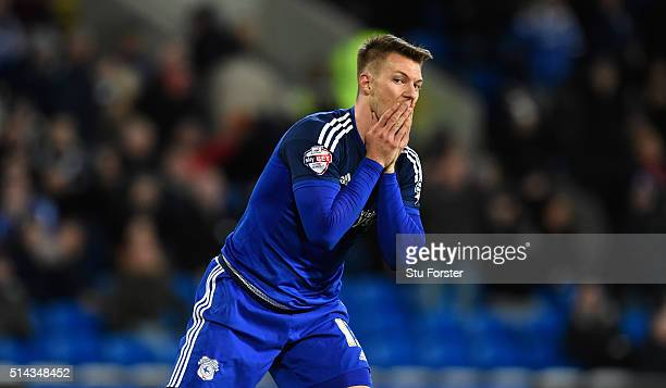 Cardiff forward Anthony Pilkington reacts after a near miss during the Sky Bet Championship match between Cardiff City and Leeds United at Cardiff...