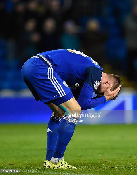 Cardiff forward Anthony Pilkington reacts after the Sky Bet Championship match between Cardiff City and Leeds United at Cardiff City Stadium on March...