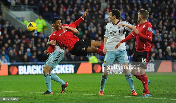 Cardiff forward Fraizer Campbell is challenged at a corner but despite an appeal no penalty was given during the Barclays Premier League match...