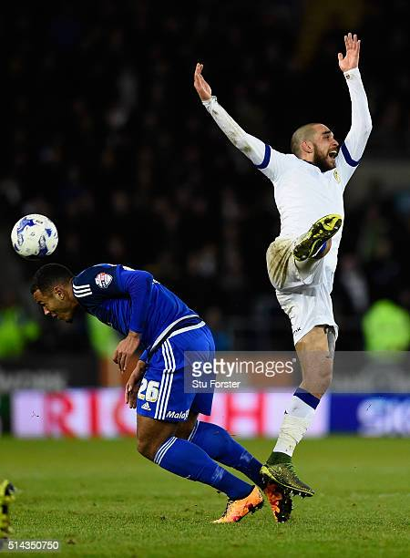 Cardiff forward Kenneth Zohore challenges Guiseppe Bellusci of Leeds during the Sky Bet Championship match between Cardiff City and Leeds United at...