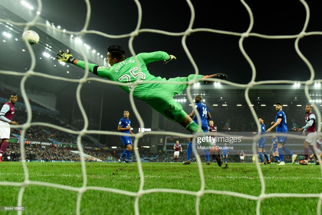 Cardiff goalkeeper Neil Etheridge fails to stop the winning goal scored by Jack Grealish of Aston Villa during the Sky Bet Championship match between Aston Villa and Cardiff City at Villa Park on April 10, 2018 in Birmingham, England.