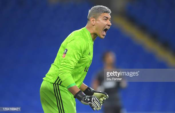 Cardiff goalkeeper Neil Etheridge in action during the FA Cup Fourth Round Replay match between Cardiff City and Reading at Cardiff City Stadium on...