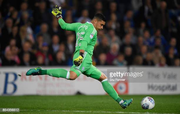 Cardiff goalkeeper Neil Etheridge in action during the Sky Bet Championship match between Cardiff City and Leeds United at Cardiff City Stadium on...