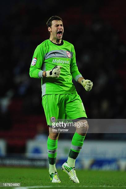 Cardiff keeper David Marshall celebrates the first goal during the npower Championship match between Blackburn Rovers and Cardiff City at Ewood park...