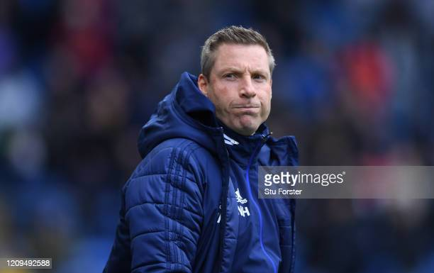 Cardiff manager Neil Harris reacts during the Sky Bet Championship match between Cardiff City and Brentford at Cardiff City Stadium on February 29,...
