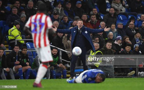 Cardiff manager Neil Harris reacts on the sidelines during the Sky Bet Championship match between Cardiff City and Stoke City at Cardiff City Stadium...