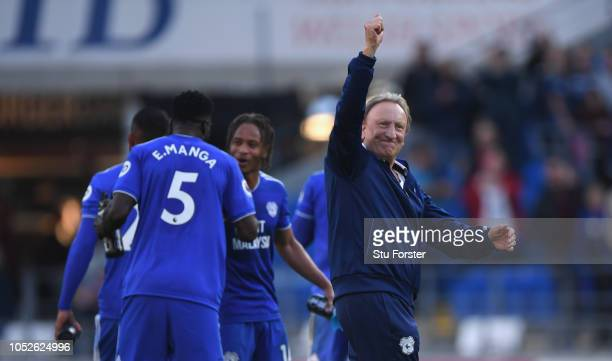 Cardiff manager Neil Warnock celebrates after the Premier League match between Cardiff City and Fulham FC at Cardiff City Stadium on October 20 2018...