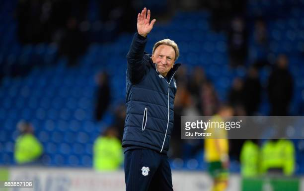 Cardiff manager Neil Warnock celebrates after the Sky Bet Championship match between Cardiff City and Norwich City at Cardiff City Stadium on...